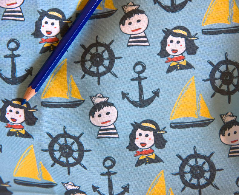 sailing themed fabric design