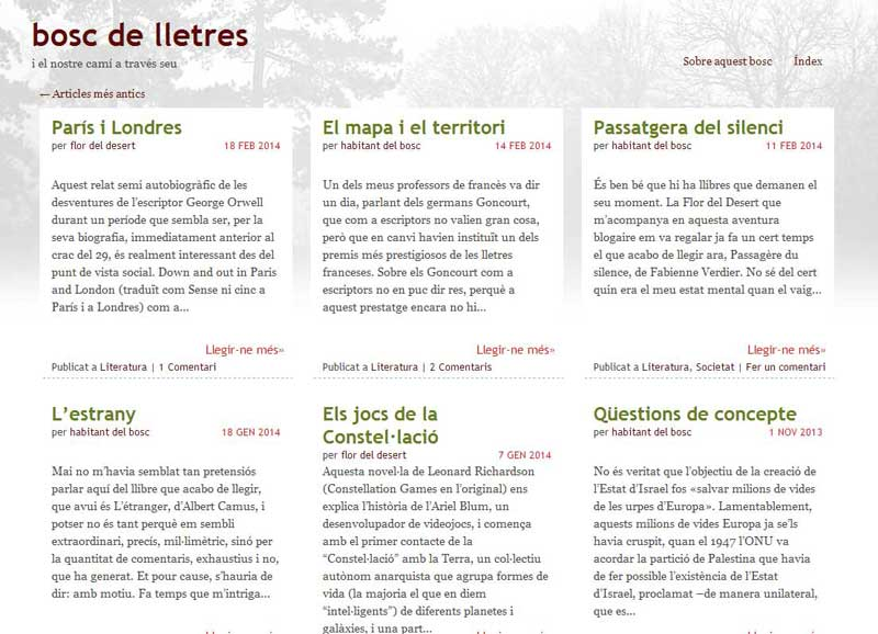 Bosc de Lletres, blog sobre literatura